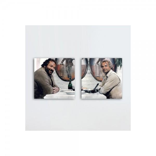 Das Krokodil und sein Nilpferd - Glasbild-Set (2 Glasbilder à 20x20cm) - Bud Spencer®
