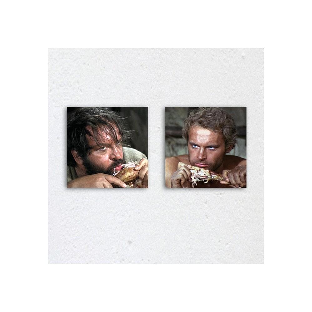 Halleluja Dinner / Vier Fäuste für ein Halleluja - Glasbild-Set (2 Glasbilder à 20X20cm) - Bud Spencer®