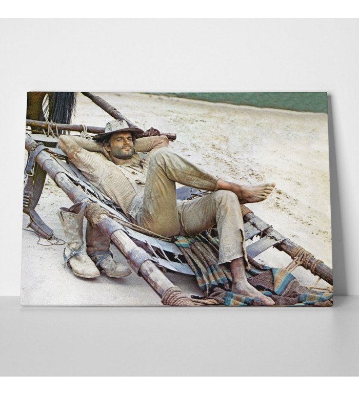 Leinwand - Der müde Joe - Pritsche - Die rechte und die linke Hand des Teufels - Terence Hill 80x60cm