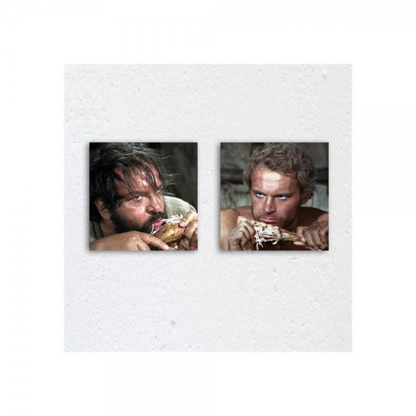 Halleluja Dinner / Vier Fäuste für ein Halleluja - Glasbild-Set Bud Spencer